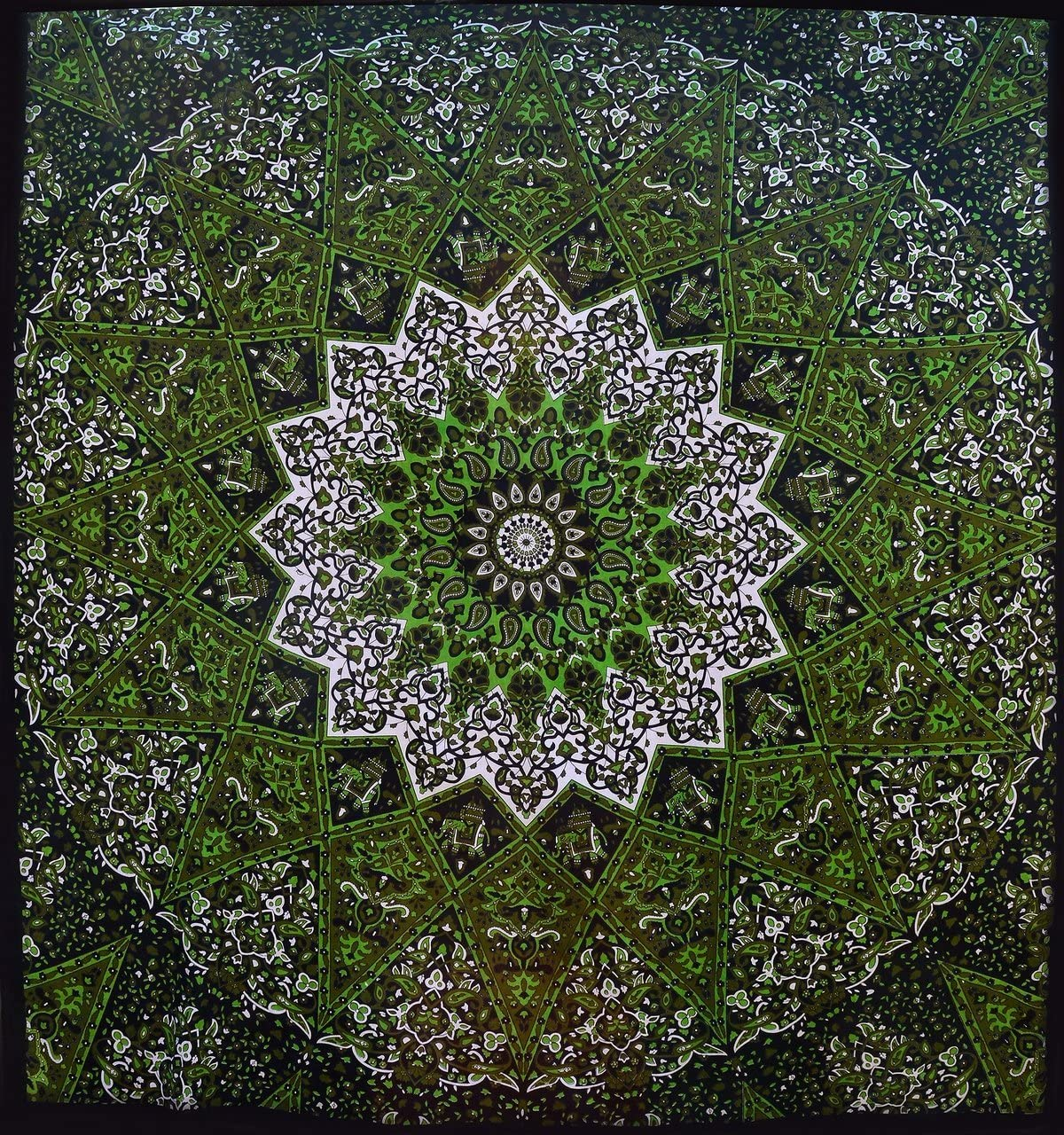 Popular Psychedelic Mandala Hippie Tapestry Indian Wall Hanging Bedspread 84×90 Inches 215x230cms