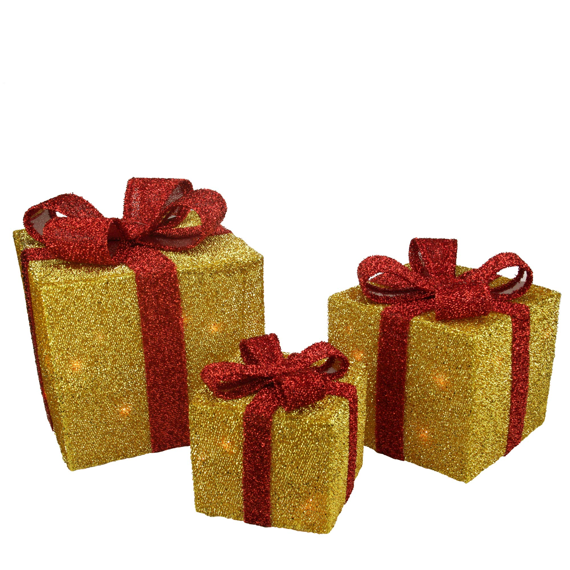 Northlight Set of 3 Gold Tinsel Gift Boxes with Red Bows Lighted Christmas Outdoor Decorations by Northlight (Image #1)