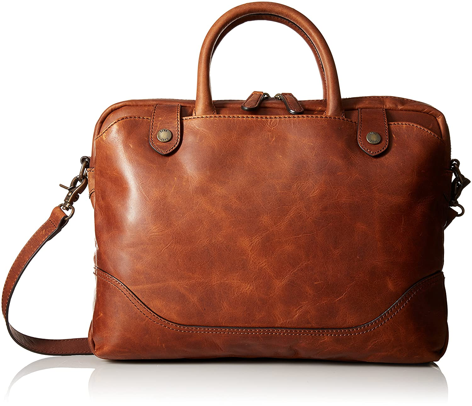 Amazon.com: Frye Men's Logan Slim Zip Briefcase, Cognac, ONE Size: Clothing