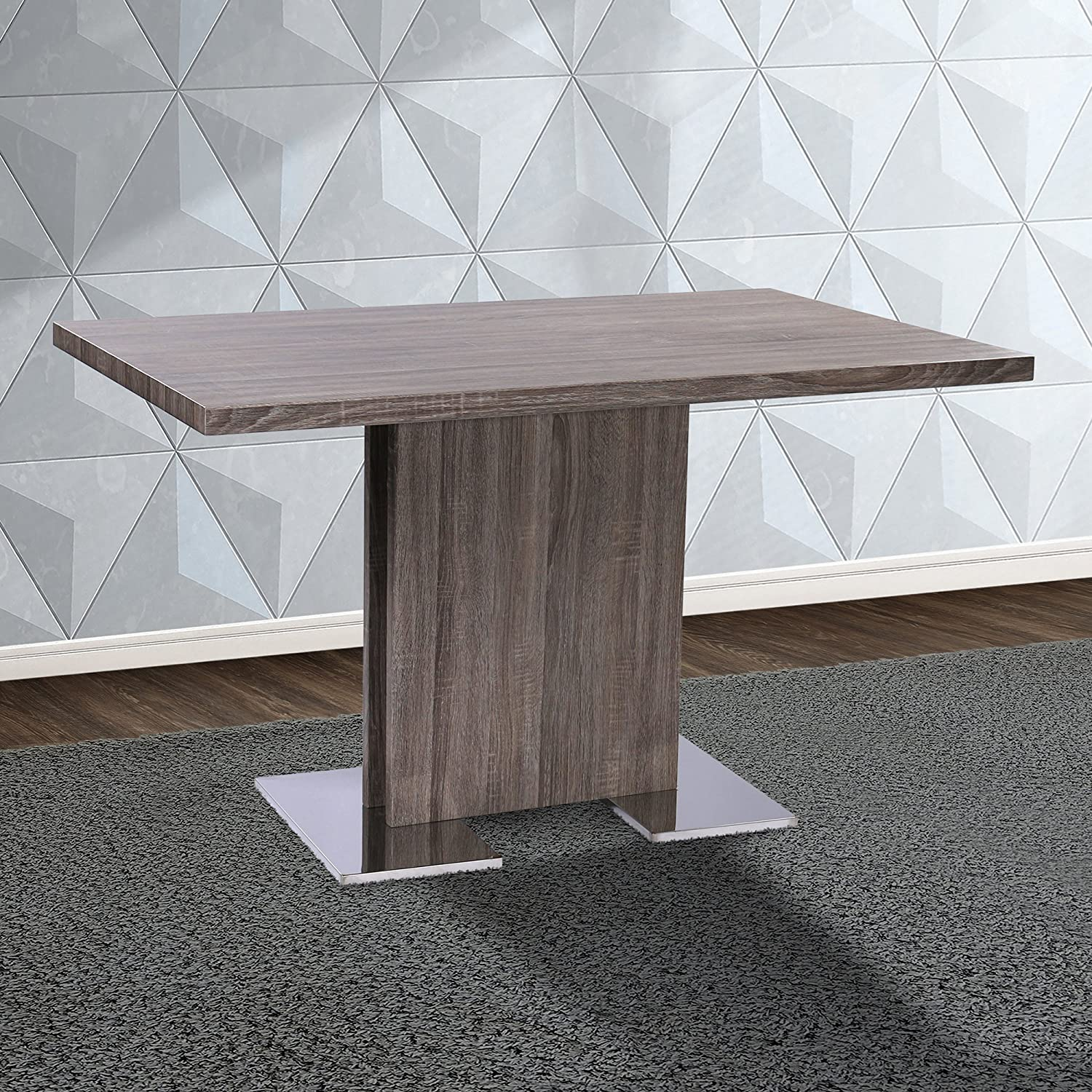 Armen Living Zenith Dining Table with Grey Walnut Wood and Brushed Stainless Steel Finish