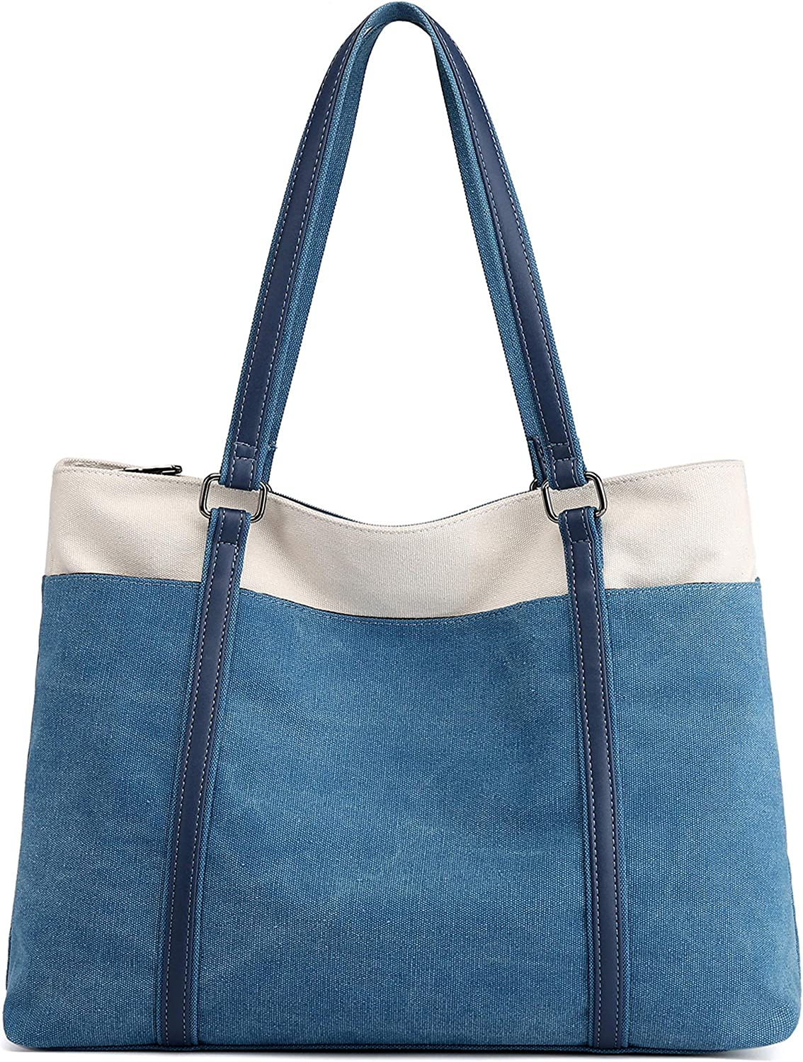 Wearigoo Laptop Tote Bag for Women 15.6 Inch Canvas Large Shoulder Purse Bags with Zipper and Pockets