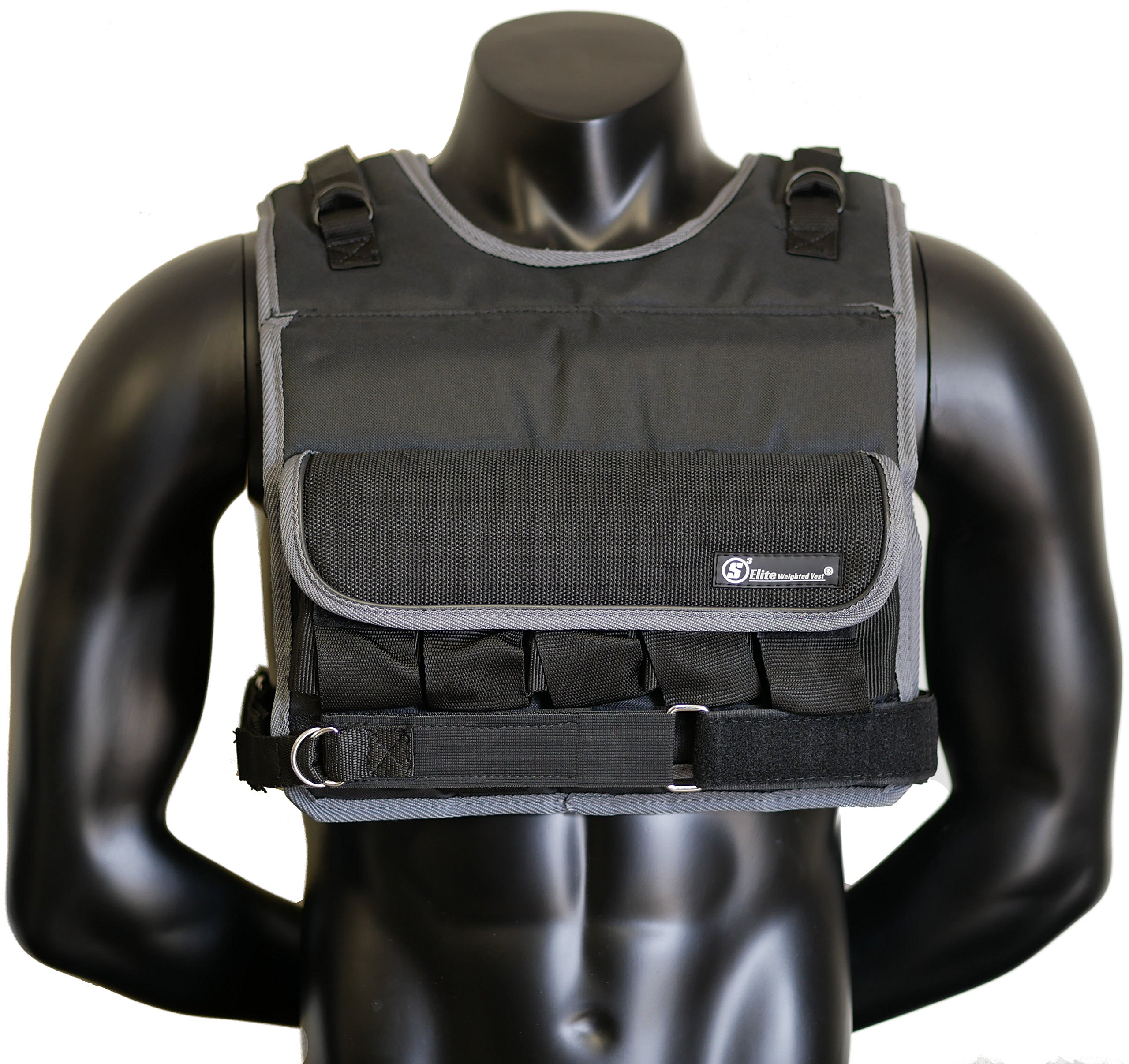 Strength sport systems Weight Vest (Short) - Premium Quality - Best for Cross fit Training - Running - Jogging - Fully Adjustable - max Weight 90lbs (S Elite Weight Vest) (Elite-Black, 80lbs) by Strength sport systems