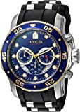 Invicta Men's 'Pro Diver' Quartz Stainless Steel and Silicone Casual Watch, Color:Black (Model: 22971)