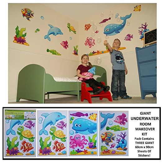 LARGE UNDERWATER FISH, DOLPHIN U0026 TURTLE Childrens Wall Stickers For Girls U0026  Boys Bedroom, Part 51