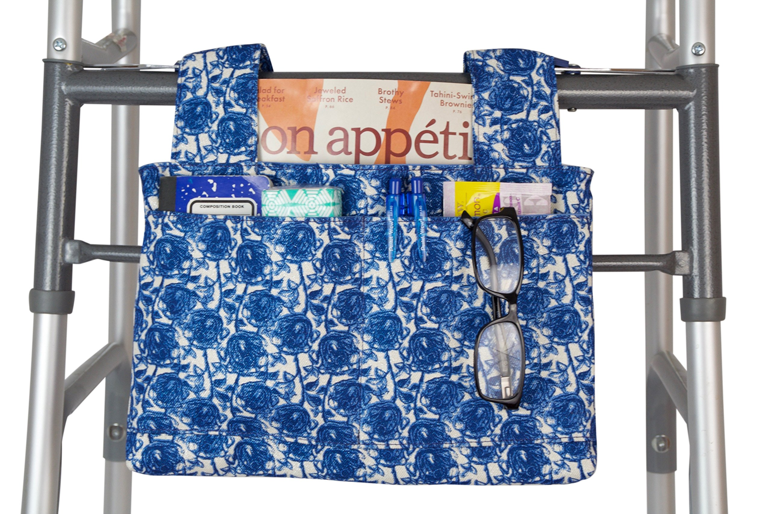 Qelse Designer Walker Bag 3-Pocket Tote Organizer Pouch FLORAL BLUE WHITE Accessories for Beautiful Mobility