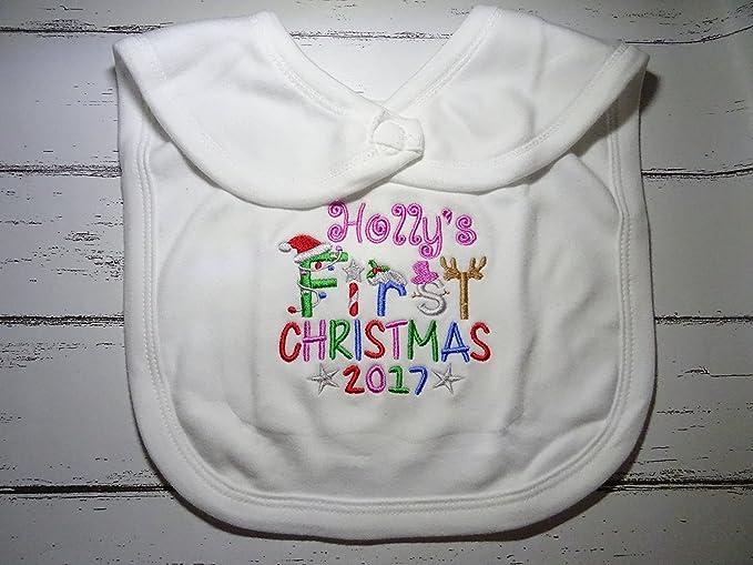 Giraffe Embroidered for Baby/'s 1st Birthday Personalised Baby Bib Gift !