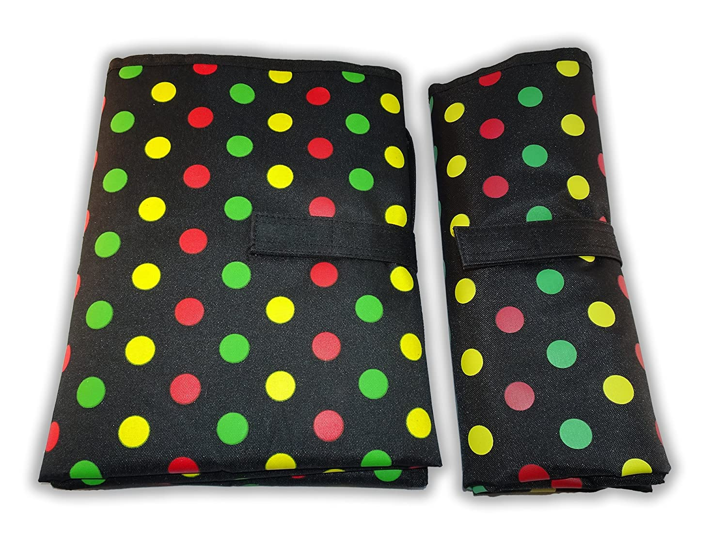 Waterproof Baby Diaper Changing Mat - One Hand Fold Grab & Go, Easy to Use, Large, Portable, Padded, Wipe Clean, On the Go Travel Change Station Pad (Black with White Dots) by Contented Infant