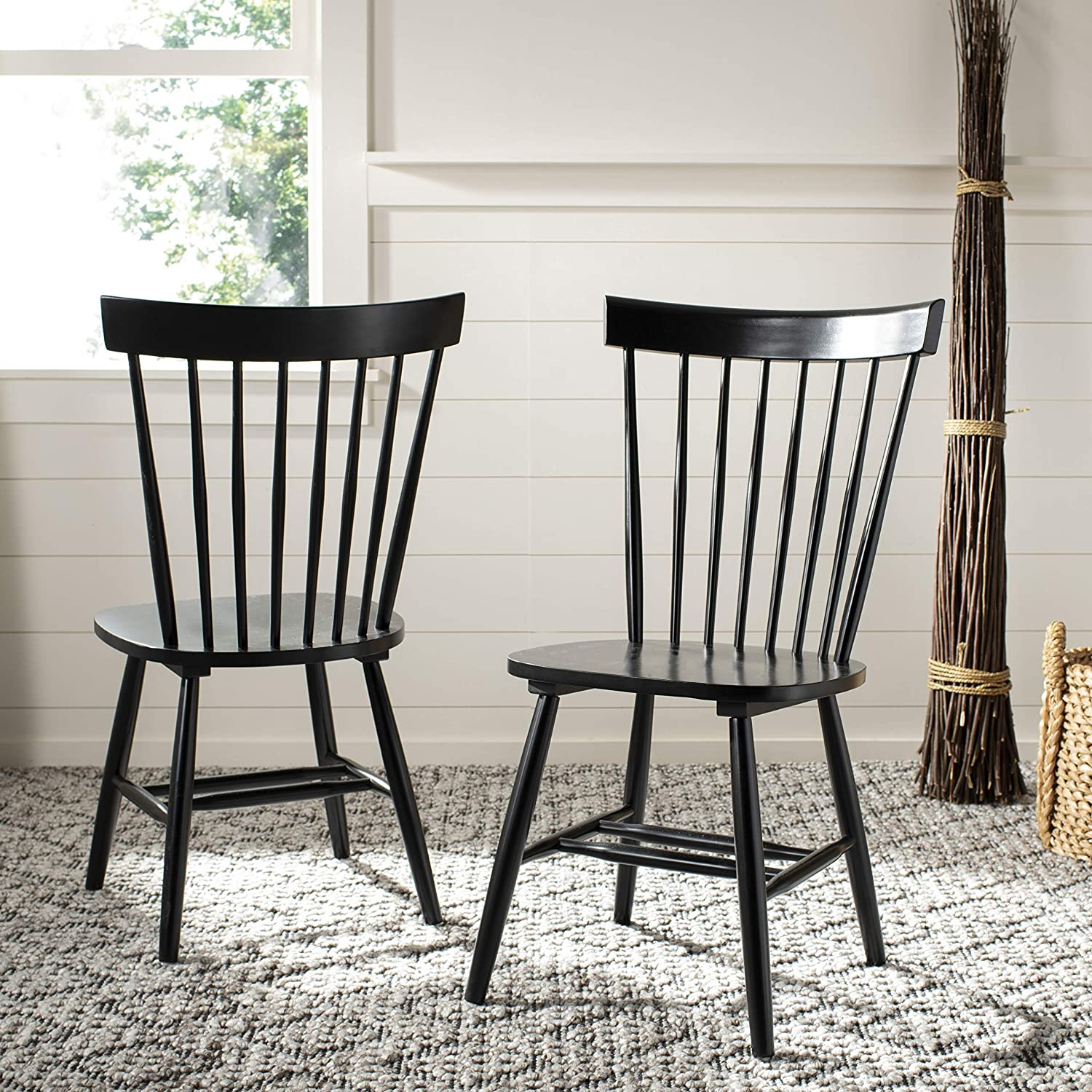 Safavieh American Homes Collection Parker Country Farmhouse Black Spindle Side Chair (Set of 2)