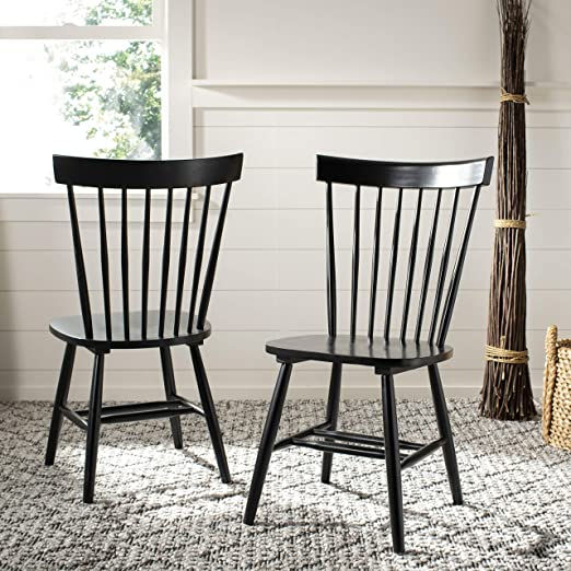 Amazon Com Safavieh American Homes Collection Parker Country Farmhouse Black Spindle Side Chair Set Of 2 Furniture Decor