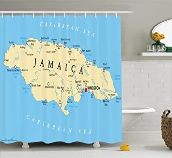 Amazoncom Jamaican Shower Curtain by Ambesonne Map of Jamaica