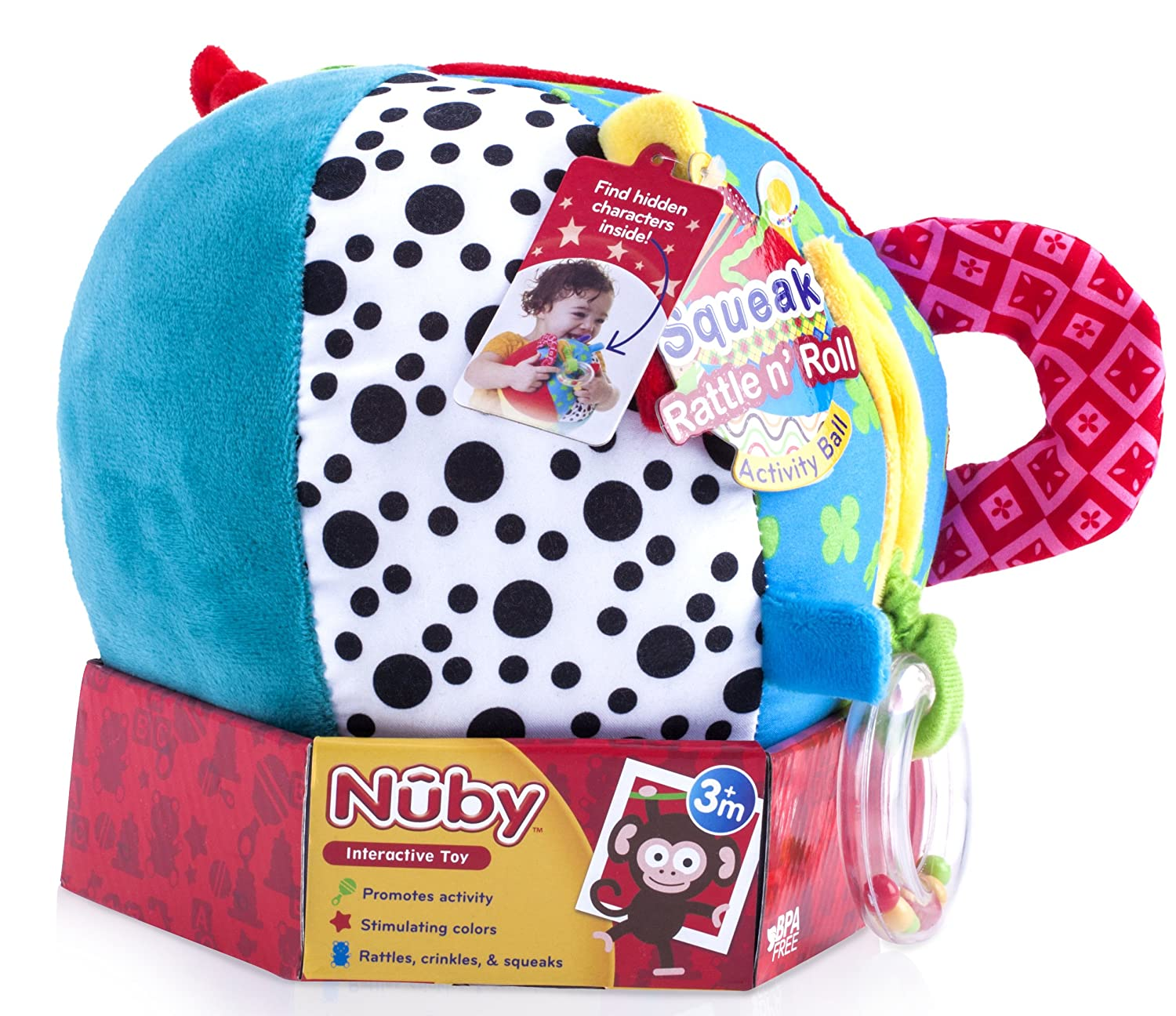 92942 Nuby Squeak Rattle N Roll Plush Interactive Toy Unique Look Inc