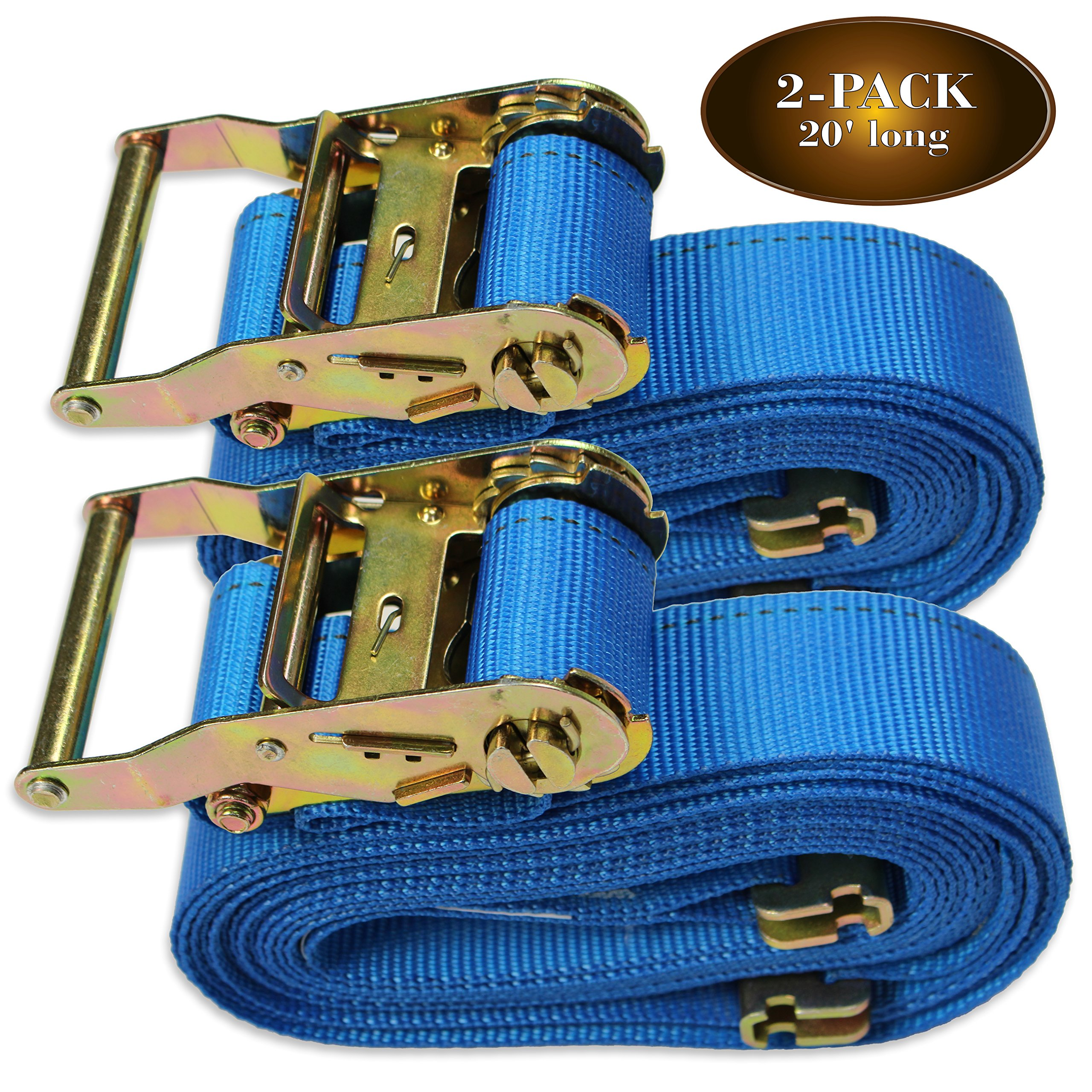 TWO 2'' x 20' E Track Ratcheting Strap Heavy Duty Cargo TieDowns, Durable Blue Polyester Tie-Down Ratchet Straps, ETrack Spring Fittings, Tie Down Motorcycles, Trailer Loads