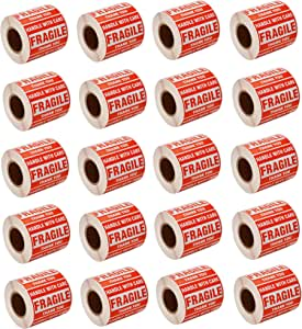 """SJPACK 40000 Fragile Stickers 80 Rolls 2"""" x 3"""" Fragile - Handle with Care - Thank You Shipping Labels Stickers (500 Labels/Roll)"""