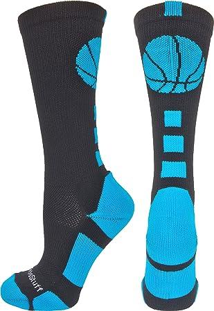 MadSportsStuff - Calcetines de baloncesto (más de 20 colores), S, Negro/Azul eléctrico: Amazon.es: Deportes y aire libre