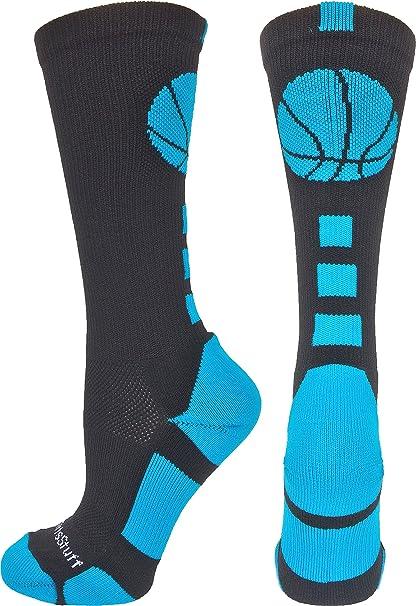 79f3419bd7b MadSportsStuff Basketball Logo Athletic Crew Socks, Small - Black/Electric  Blue