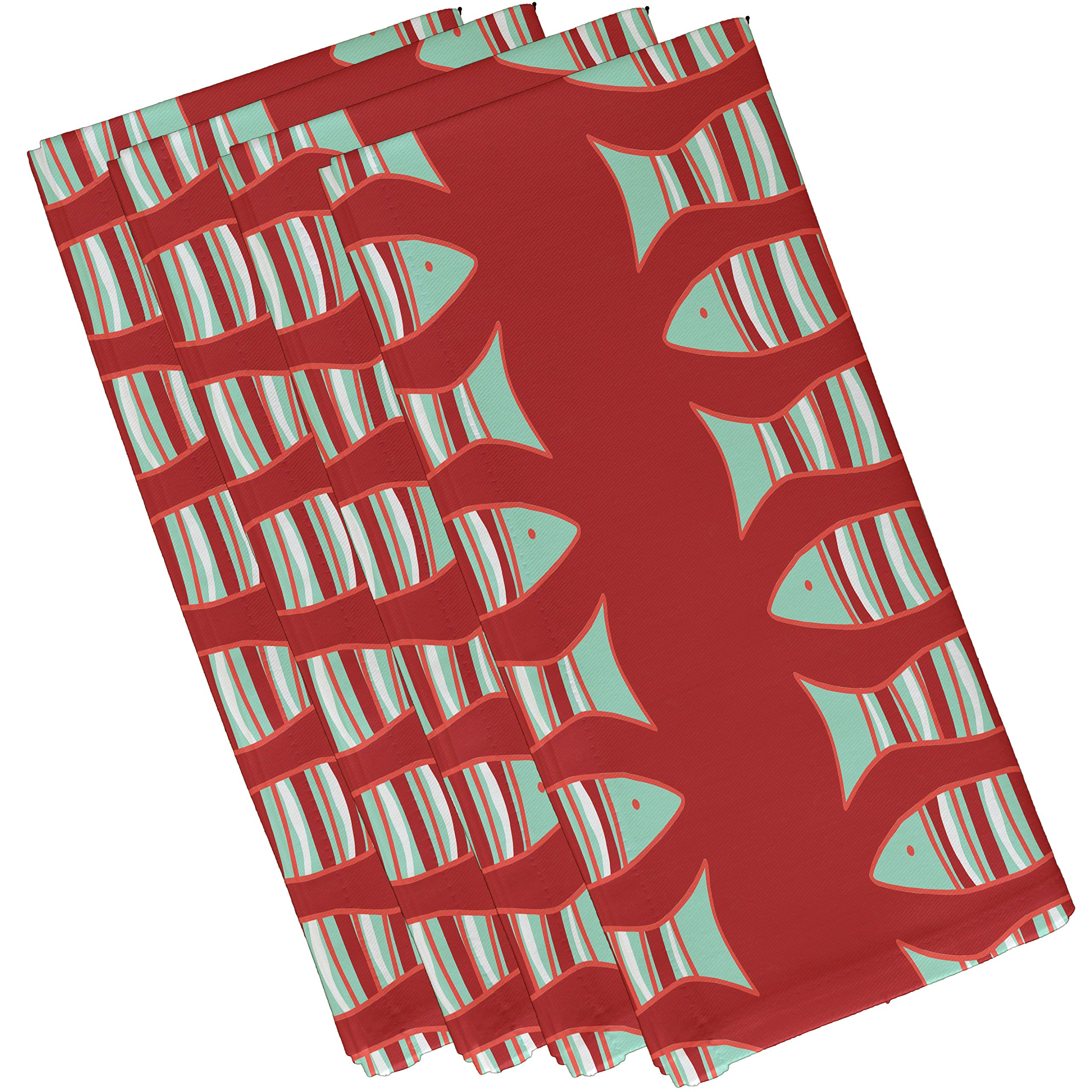 E by design Something's Fishy, Animal Print Napkin, 19 x 19'', Coral