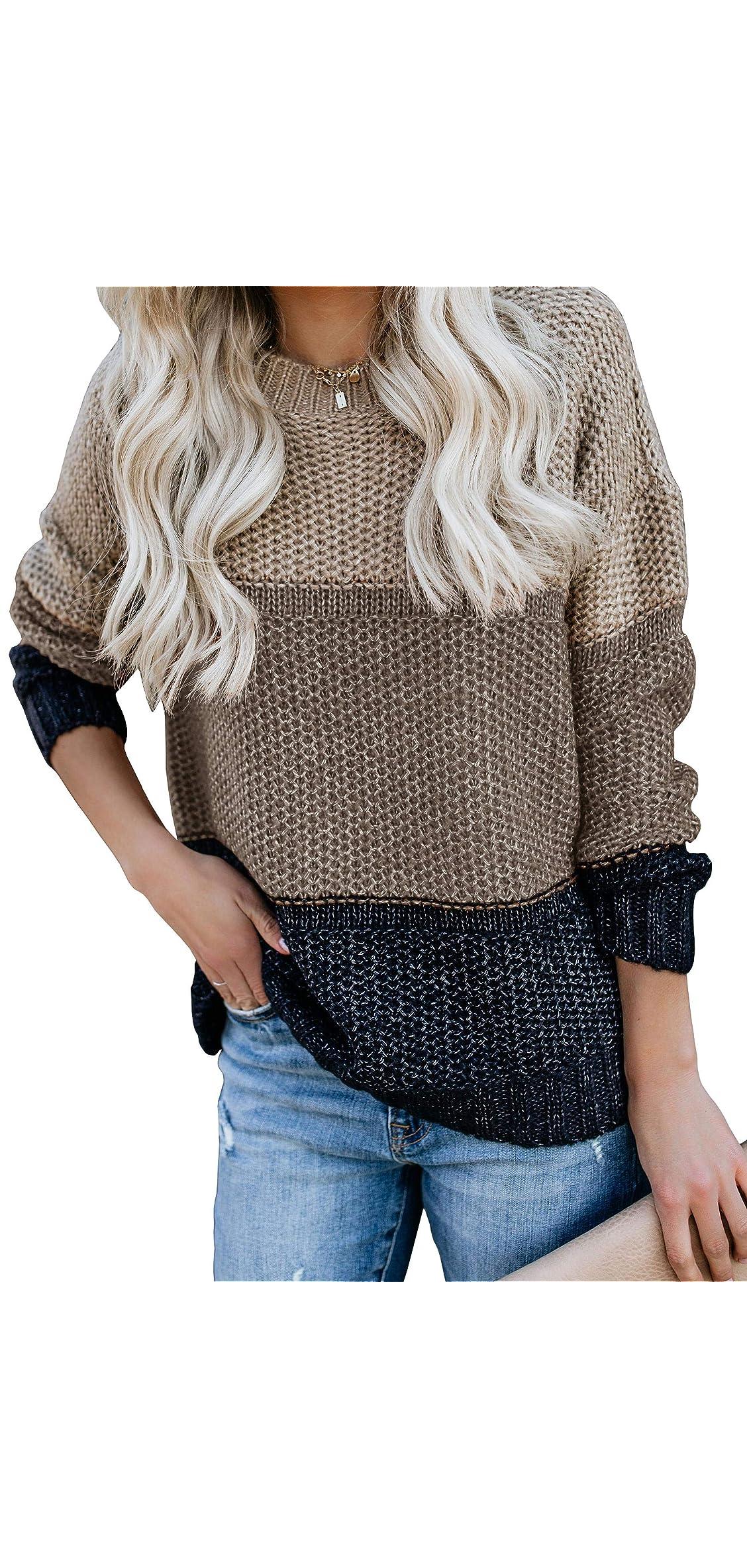 Womens Color Block Oversized Crewneck Sweaters Striped