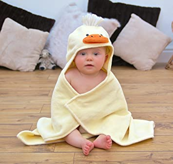 Amazon.com   Bathing Bunnies Duck Baby Hooded Towel Light Yellow   Baby 157ee4708