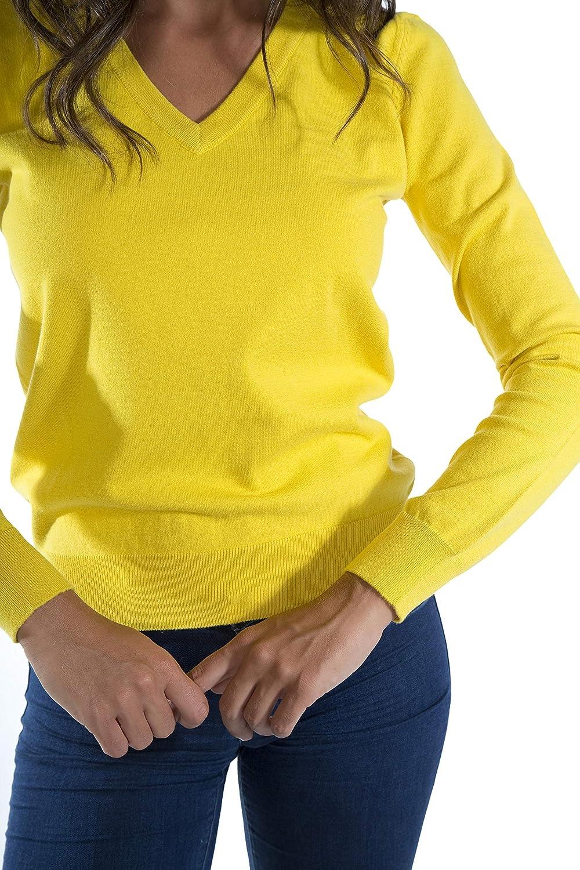 MY BASIC Pull en Coton Stretch Femme col en V
