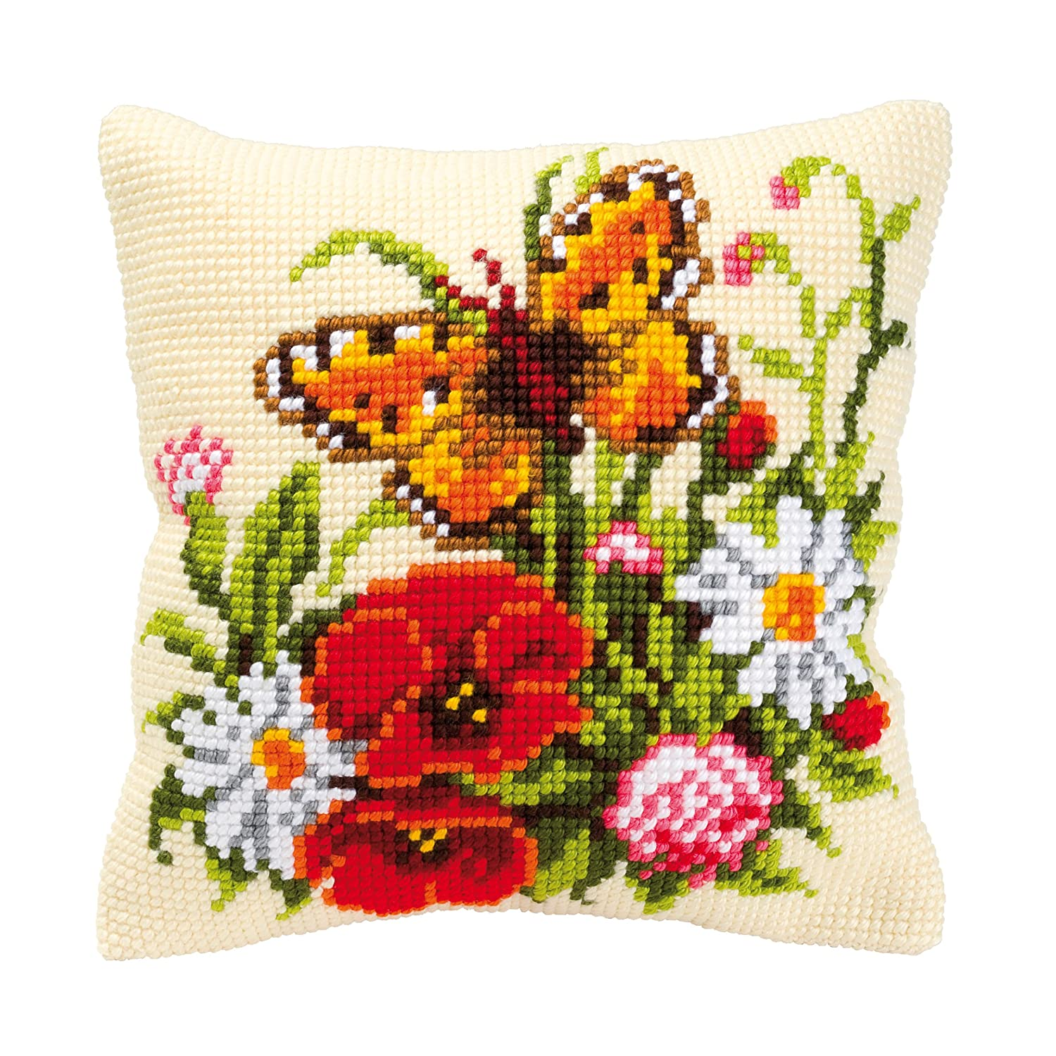 Vervaco Butterfly and Flowers Cross Stitch Cushion Multi-Colour