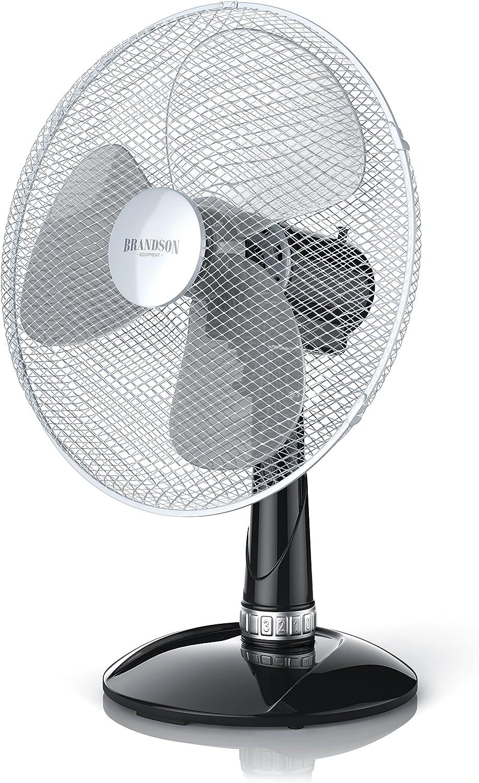 Brandson - Ventilador de Mesa 35 cm - Ventilador de Escritorio - 3 Niveles de Potencia - 40 W - Flujo de Aire Elevado - Grado de inclinación Aprox. 30 Grado - Oscilación Aprox. 85 Grado - Negro Plata