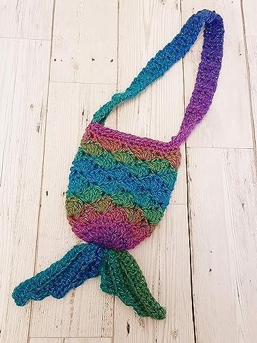 Crochet Rainbow Mermaid Tail Childrens Bag Amazon Handmade