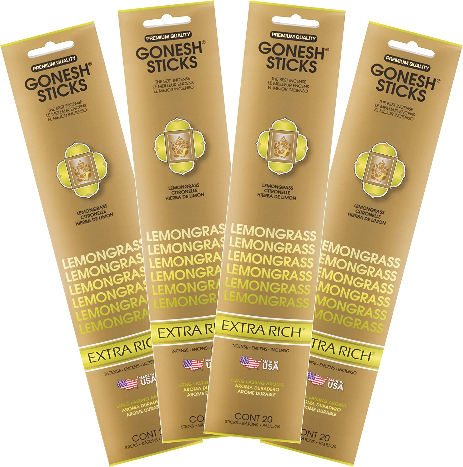 Gonesh Collection Lemongrass 4 Piece 4 Pack-Extra Rich Incense