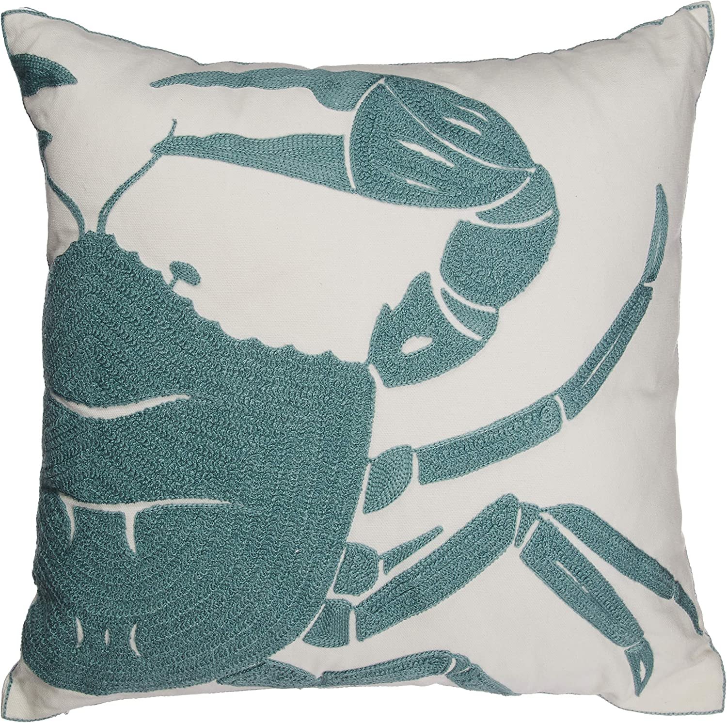 Amazon Com North End Decor Blue Crab Chain Stitch Decorative 18x18 Insert Included Throw Pillows Stuffed Home Kitchen