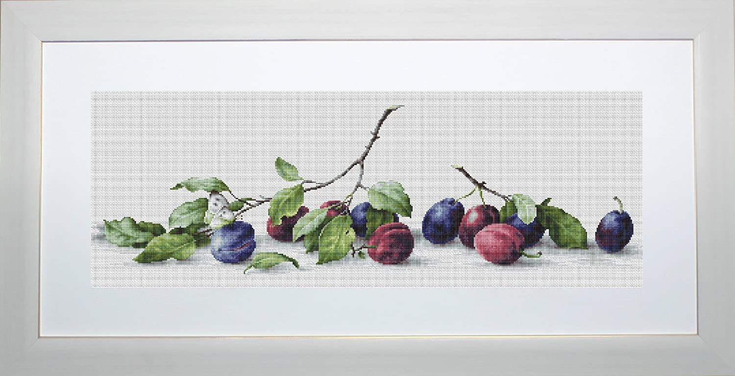 Luca-S Plums Still Life Counted Cross Stitch Kit, Pack Of 1 Lucas B2257