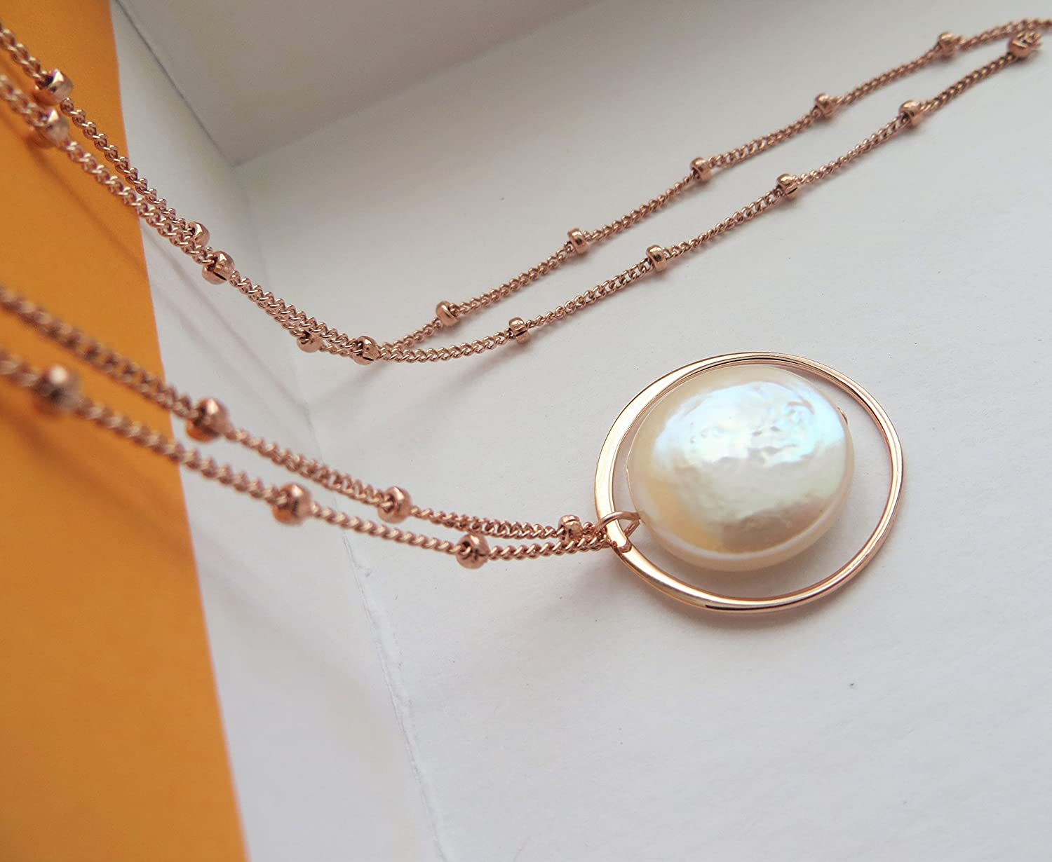 fd886c6e8b Amazon.com: Mother of the bride gift, Eternity pearl necklace, wedding day  jewelry, love mom: Handmade