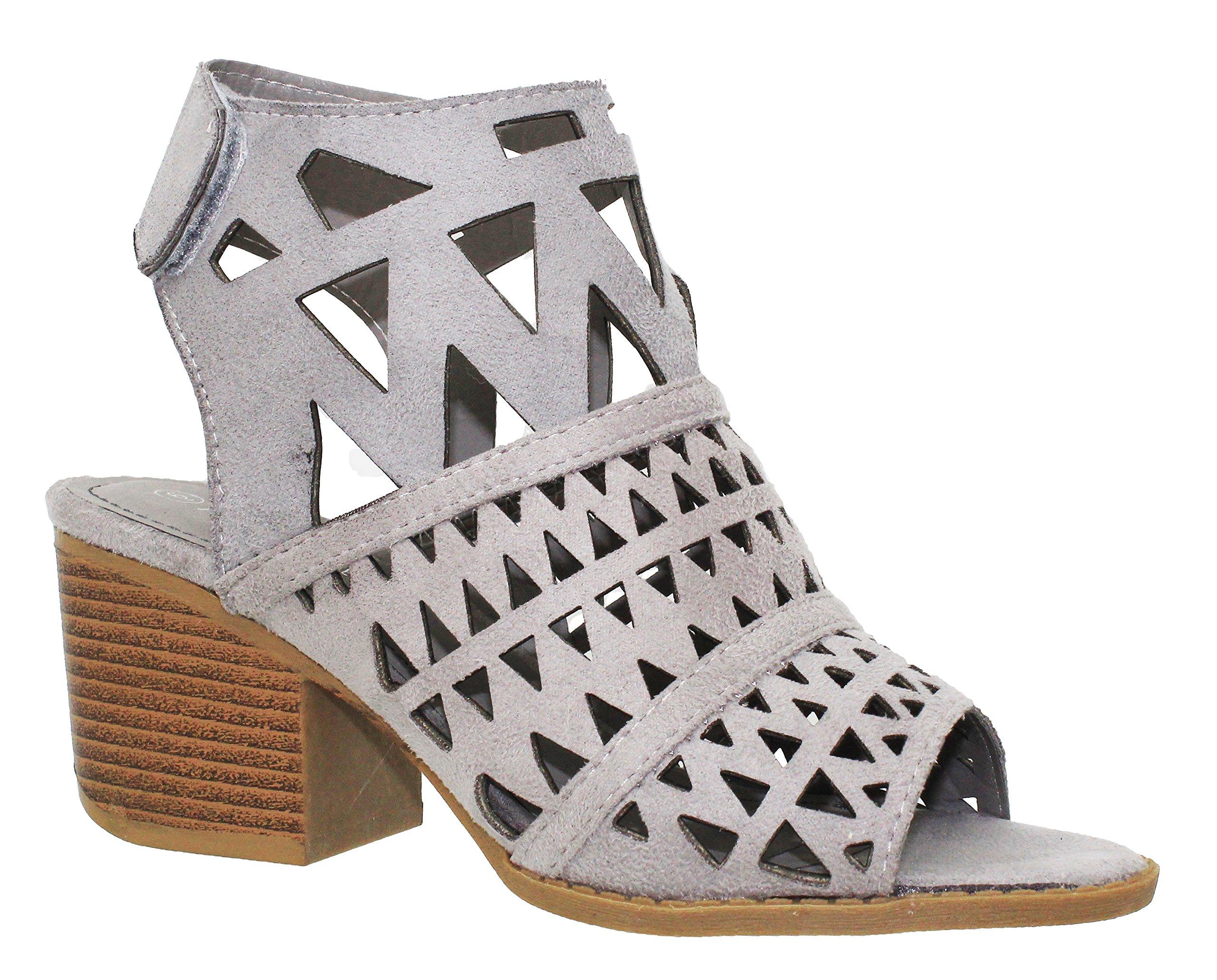 MVE Shoes Women's Ankle Velcro Open Toe Cutout Heeled-Sandals, Gray Size 10