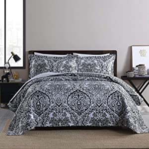 Boryard 3-Piece Full Queen Quilt Set, Lightweight Soft Full Size Quilt Bedspread Coverlet (90x90 inches) Bedding Set with 2 Pillow Shams (20x26 inches) for All Season, Paisley Print