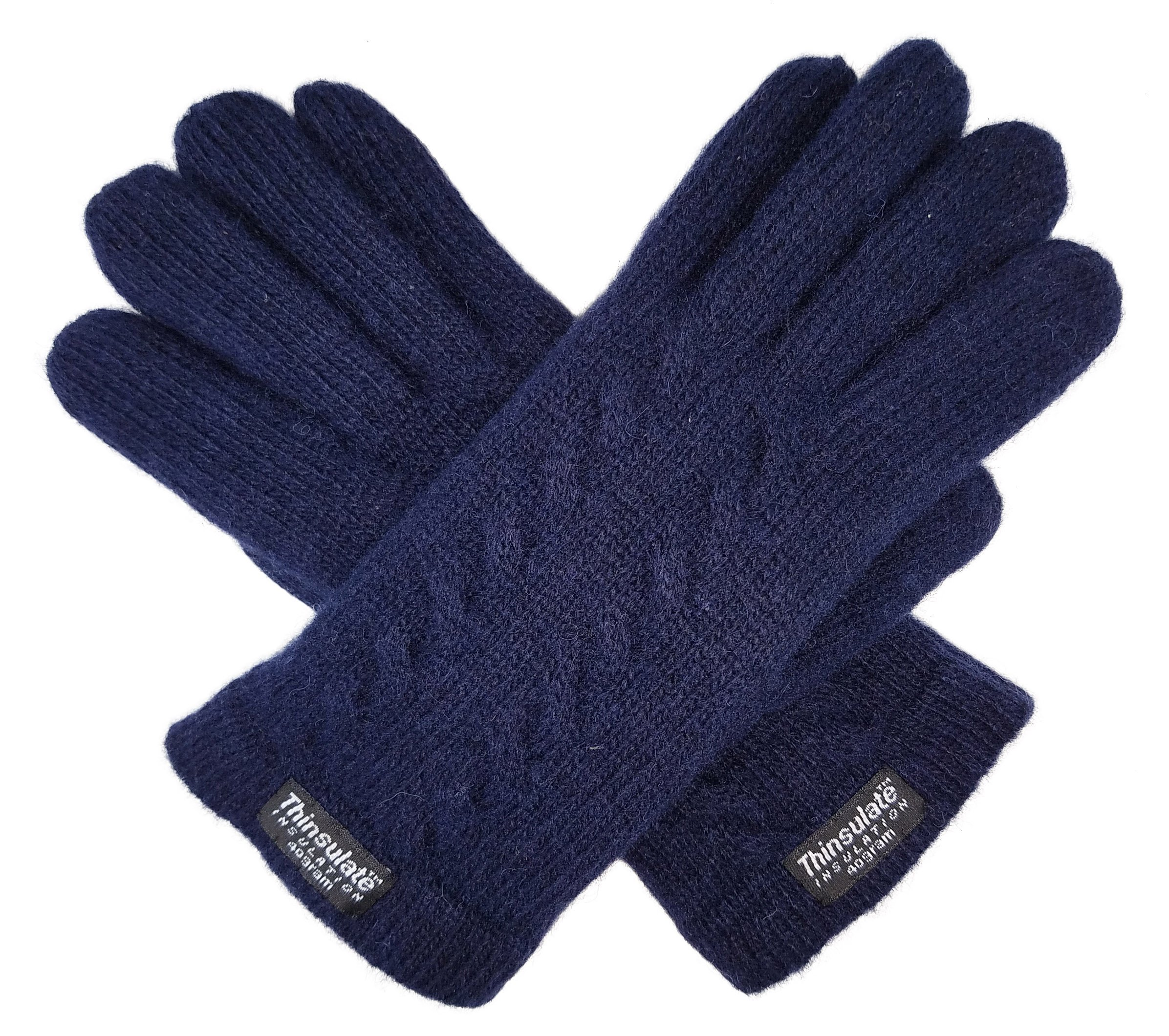 Bruceriver Ladie's Pure Wool Knit Gloves with Thinsulate Lining and Cable design Size XL (Navy)