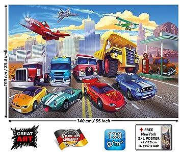 Papier peint photo pour chambre denfant avec voitures et avions - voitures  de course - décoration de voitures pour chambres de garcons - pompiers et  ...