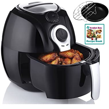 Avalon Bay Air Fryer, For Healthy Fried Food, 3.7 Quart Capacity, Includes Airfryer Baking Set and Recipe Book, AB-Airfryer100B