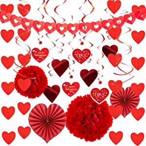 JOYIN Valentines Day Decoration Kit with 1 Heart Shaped Garland, 2 Tissue Fans, 2 Tissue Poms, 6 Heart String Decorations, 8 Double Swirls and 4 Foil Cutouts Swirls and 4 Cardstock Cutouts Swirls
