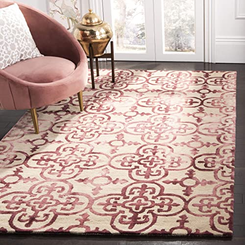 Safavieh Dip Dye Collection DDY711G Handmade Moroccan Geometric Watercolor Beige and Maroon Wool Area Rug 4 x 6