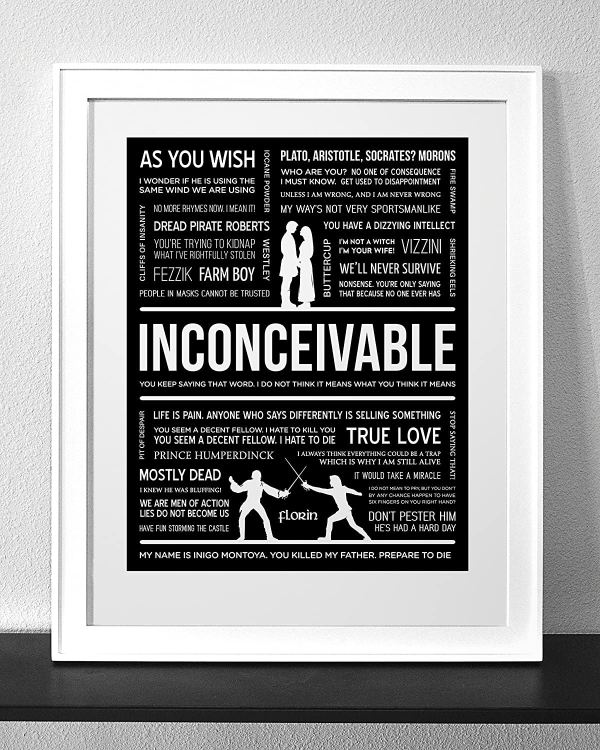 PRINCESS BRIDE Typography and Quote Art Print Frame not included