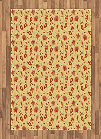 Amazon Com Lunarable Yellow And Red Area Rug Ornate Abstract Rural