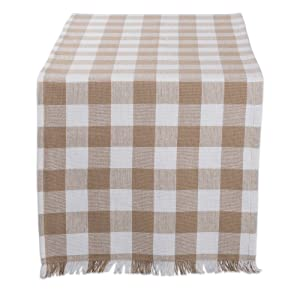 """DII Cotton Woven Heavyweight Table Runner with Decorative Fringe for Spring, Summer, Family Dinners, Outdoor Parties, & Everyday Use (14x72"""") Stone Check"""