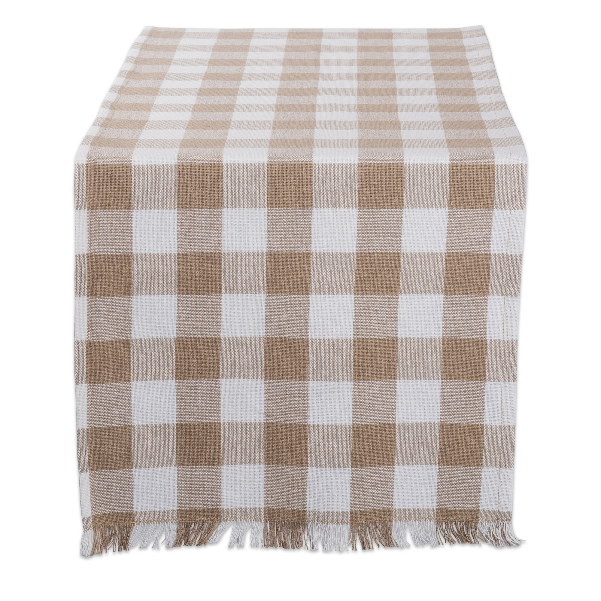 DII Cotton Woven Heavyweight Table Runner with Decorative Fringe for Spring, Summer, Family Dinners, Outdoor Parties, & Everyday Use (14x108'') Stone Check