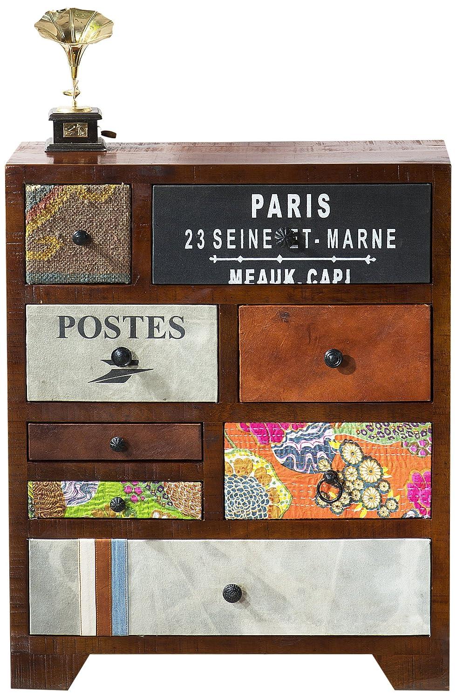 SIT-Möbel 1410-30 Kommode Wood und Textil, Mangoholz mit Jute, 70 x 30 x 85 cm, bunt
