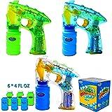 Bubble Gun Kit; 3 Bubble Guns LED Light Up with 6 of 4oz Bubble Gun Party Favors, Bubble Machine Gun Party Supplies, Summer Toy, Outdoors Activity, Birthday Gift, Bubble Blower by Joyin Toy