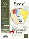 Exacompta - Réf. 420000E - Paquet de 100 Chemises Semi-rigides Forever - 24x32cm pour Documents A4 - Carte 170g/m² - Couleurs Assorties