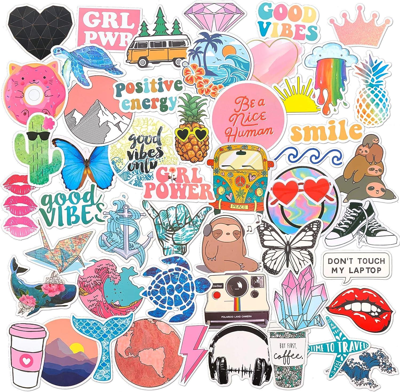 Aesthetic Stickers for Water Bottle Laptop 50 Pack, Cute VSCO Hydroflask Waterproof Vinyl Decals for Teens Girls, Fun Kids Sticker Pack