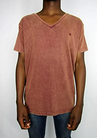 a1fd2ae1 JUNK DE LUXE Dark Orange Short Sleeve V Neck Cotton Tee Shirt for Men, Size  M: Amazon.co.uk: Clothing