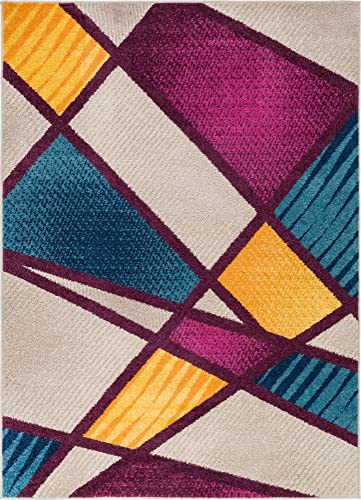 Well Woven Soho Fuchsia Purple Blue Yellow Orange Modern Geometric Boxes Stripes Triangles 8×10 7'10″ x 9'10″ Area Rug