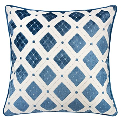 Astonishing Homey Cozy Jacquard Throw Pillow Cover Argyle Diamond Tapestry Blue Velvet Large Sofa Couch Pillow Sham 20X20 Cover Only Theyellowbook Wood Chair Design Ideas Theyellowbookinfo