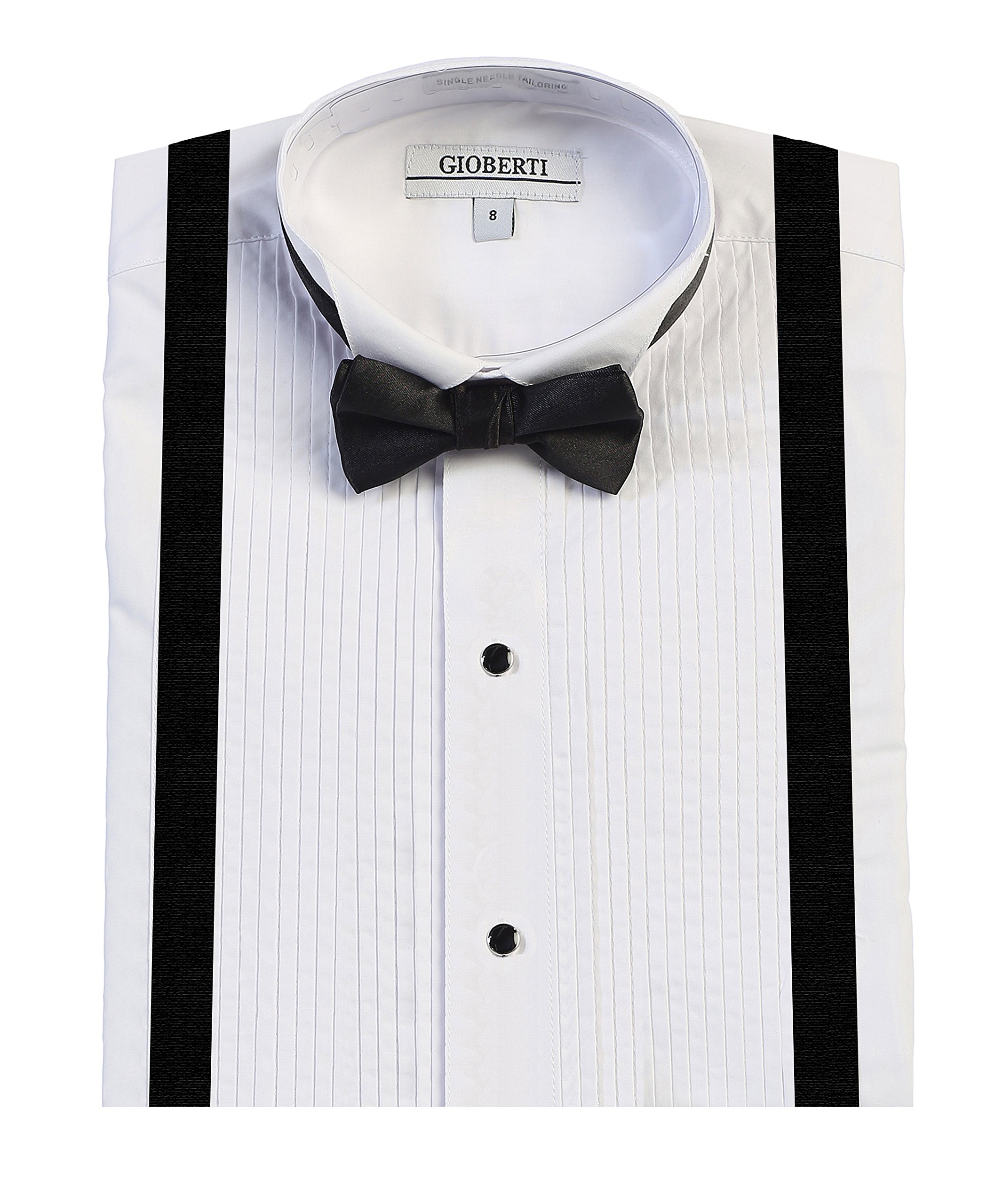 Gioberti Boy's Wing Tip Collar Tuxedo Dress Shirt with Bow Tie & Suspenders, White, Size 14