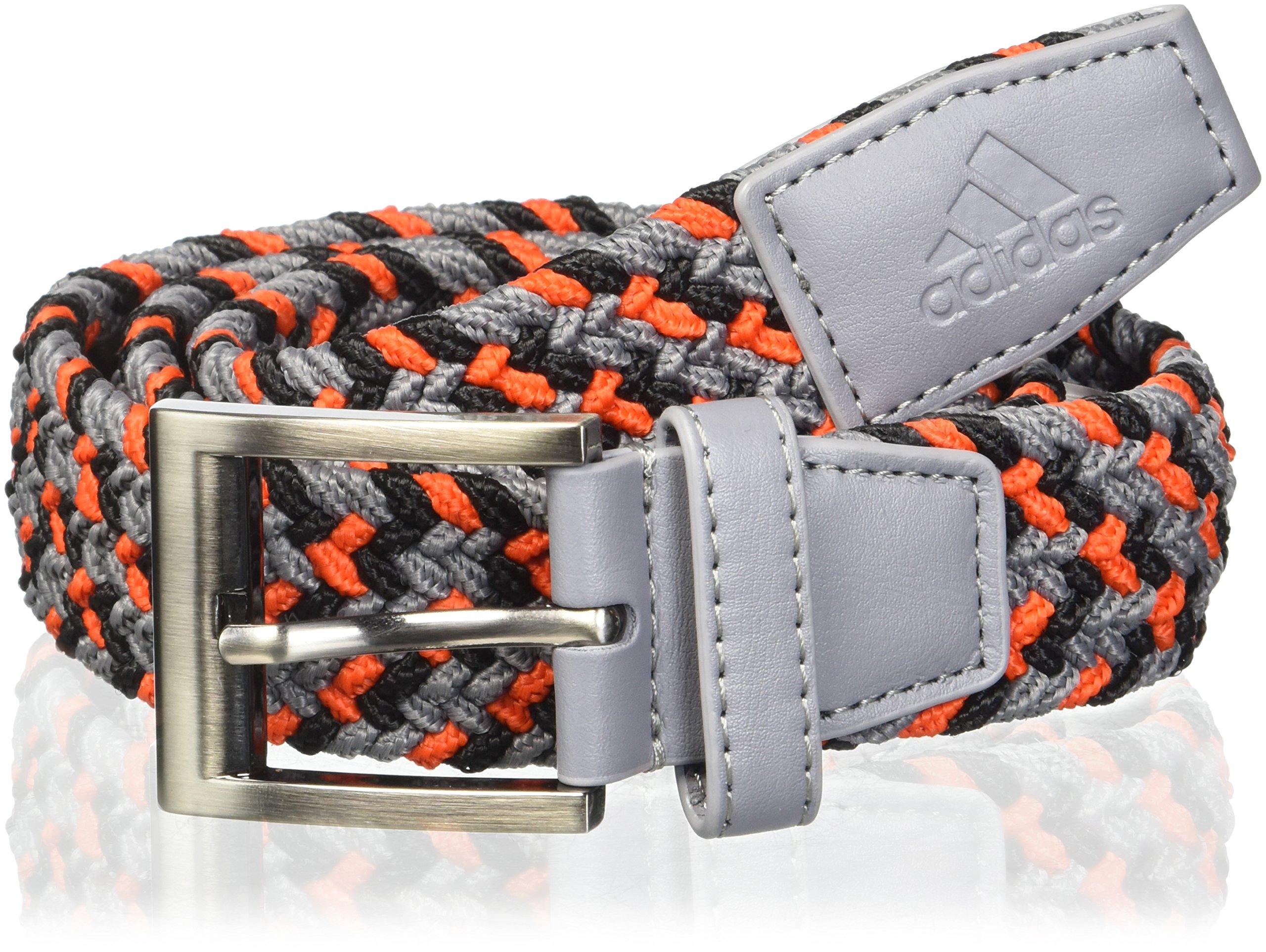 adidas Golf Men's Braided Weave Stretch Belt, Grey Three/Hi-Res Red, Small/Medium
